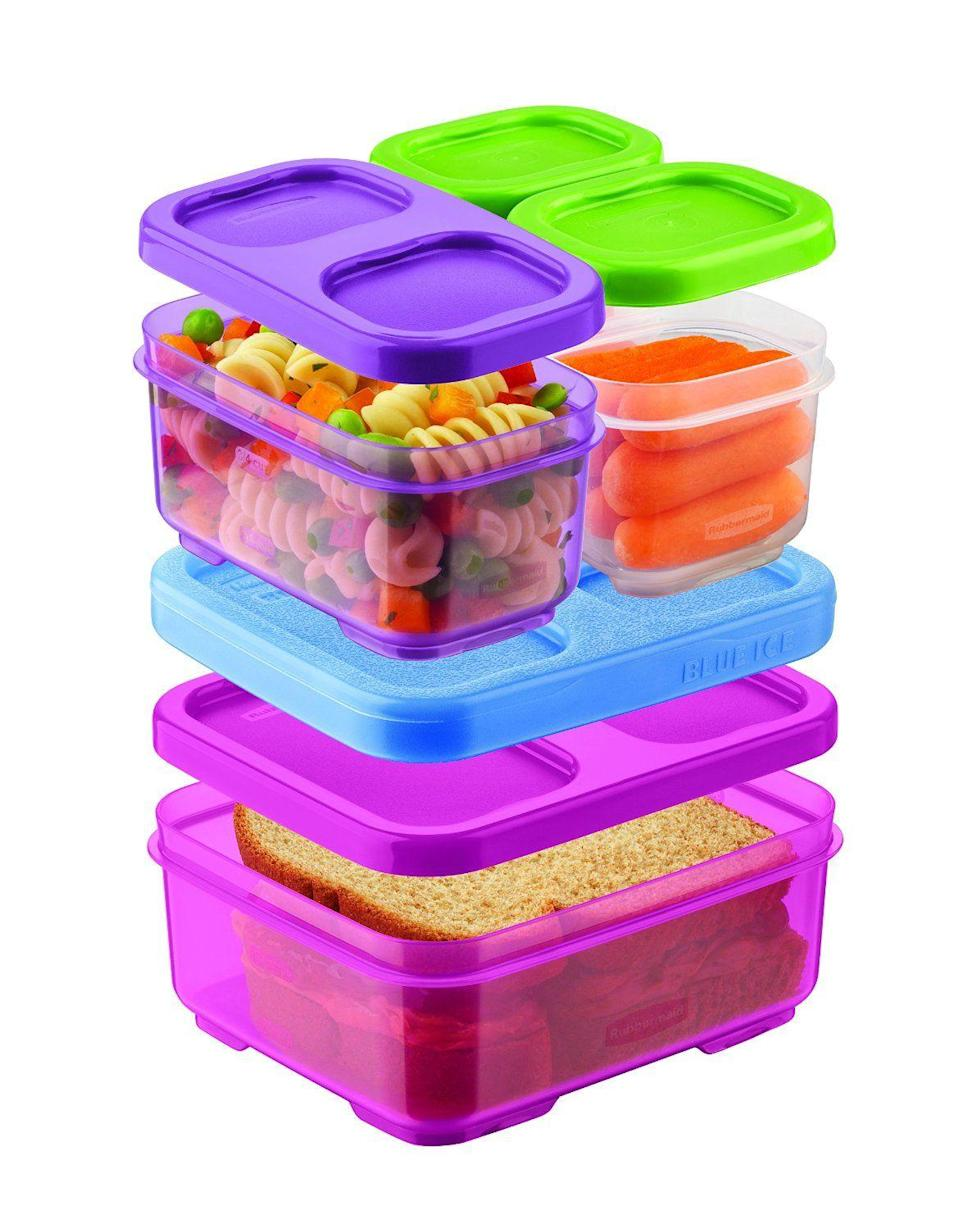 """<p><strong>Rubbermaid</strong></p><p>walmart.com</p><p><strong>$14.99</strong></p><p><a href=""""https://go.redirectingat.com?id=74968X1596630&url=https%3A%2F%2Fwww.walmart.com%2Fip%2F163677443&sref=https%3A%2F%2Fwww.thepioneerwoman.com%2Fhome-lifestyle%2Fdecorating-ideas%2Fg33901854%2Fbest-food-storage-containers%2F"""" rel=""""nofollow noopener"""" target=""""_blank"""" data-ylk=""""slk:Shop Now"""" class=""""link rapid-noclick-resp"""">Shop Now</a></p><p>These cute and colorful little containers snap together and can stack to fit pretty much any size or shape lunch bag. It also comes with a narrow blue freezer pack that can snap in too, keeping your kids' lunch cool all day. </p>"""
