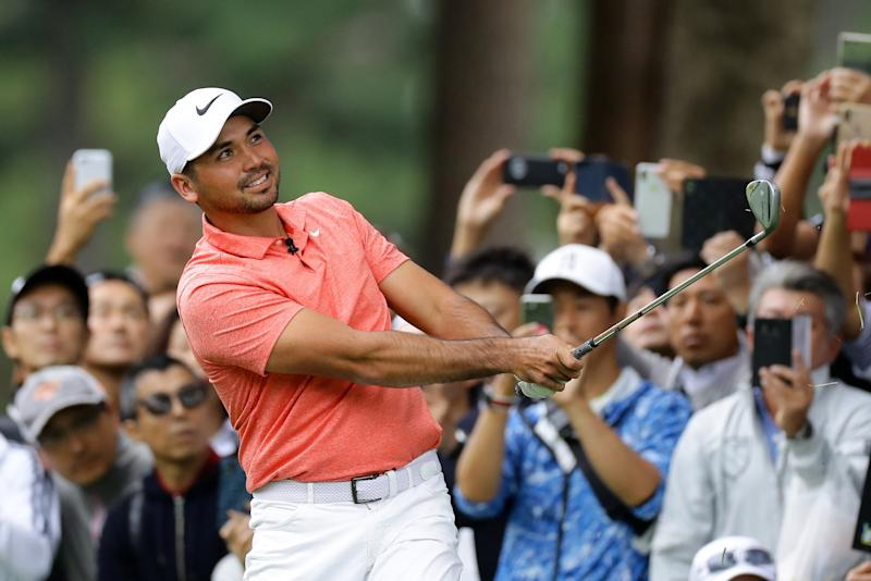INZAI, JAPAN - OCTOBER 21: Jason Day of Australia plays a shot on the 1st hole during The Challenge: Japan Skins at Accordia Golf Narashino Country Club on October 21, 2019 in Inzai, Chiba, Japan. (Photo by Richard Heathcote/Getty Images)