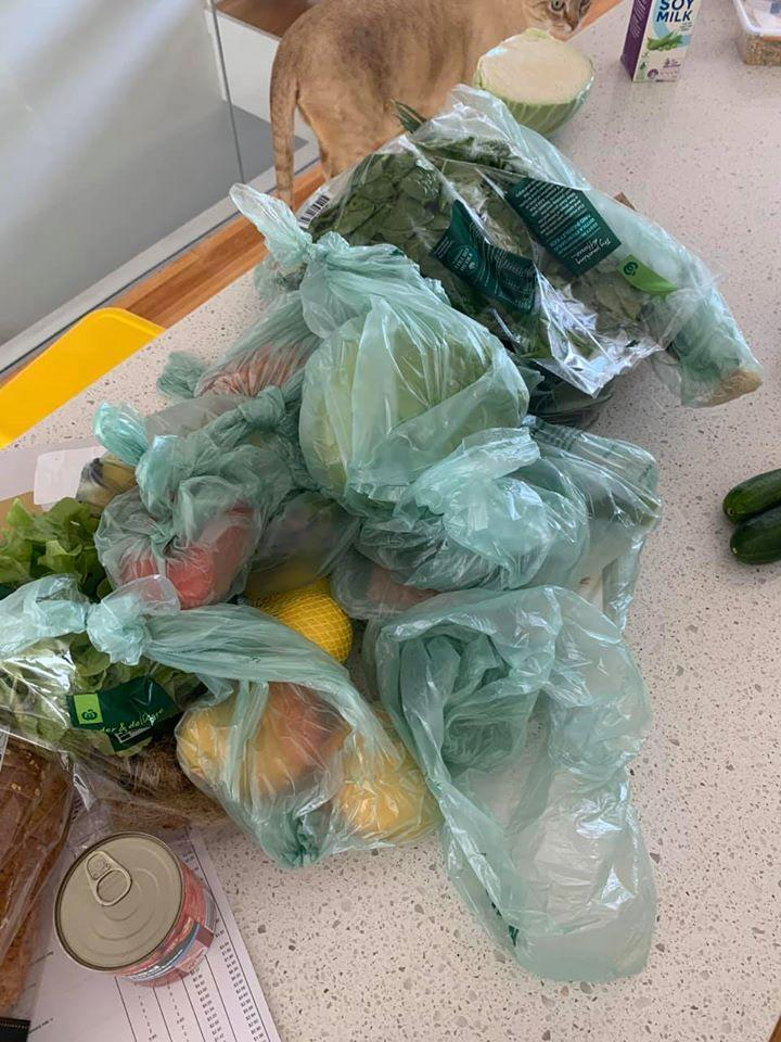 The man said he received 15 single-use plastic bags with his Wooloworths online order. Source: Facebook.