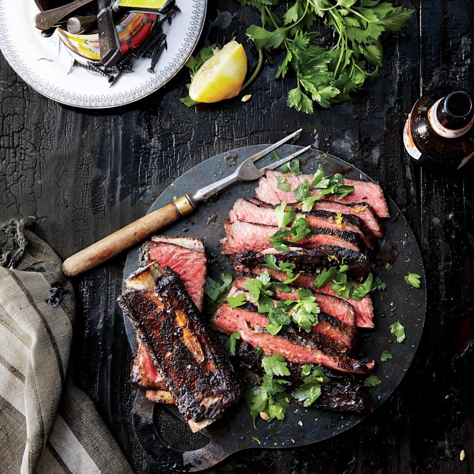 """Short ribs aren't just for slow braising—they're great on the grill, tenderized with a citrus marinade. <a href=""""https://www.epicurious.com/recipes/food/views/grilled-short-ribs-with-lemon-and-parsley-51241920?mbid=synd_yahoo_rss"""" rel=""""nofollow noopener"""" target=""""_blank"""" data-ylk=""""slk:See recipe."""" class=""""link rapid-noclick-resp"""">See recipe.</a>"""