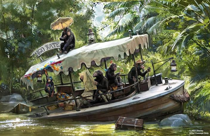 Disney released concept art for updates coming to the Jungle Cruise attraction at Disneyland and Walt Disney World, including this scene of chimps taking over a boat. No more stereotypical Indigenous people holding shrunken heads.