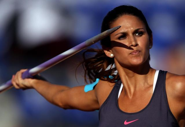 GUADALAJARA, MEXICO - OCTOBER 27: Leryn Franco of Paraguay competes in the women's javelin throw final during Day 13 of the XVI Pan American Games at Telmex Athletics Stadium on October 27, 2011 in Guadalajara, Mexico. (Photo by Scott Heavey/Getty Images)