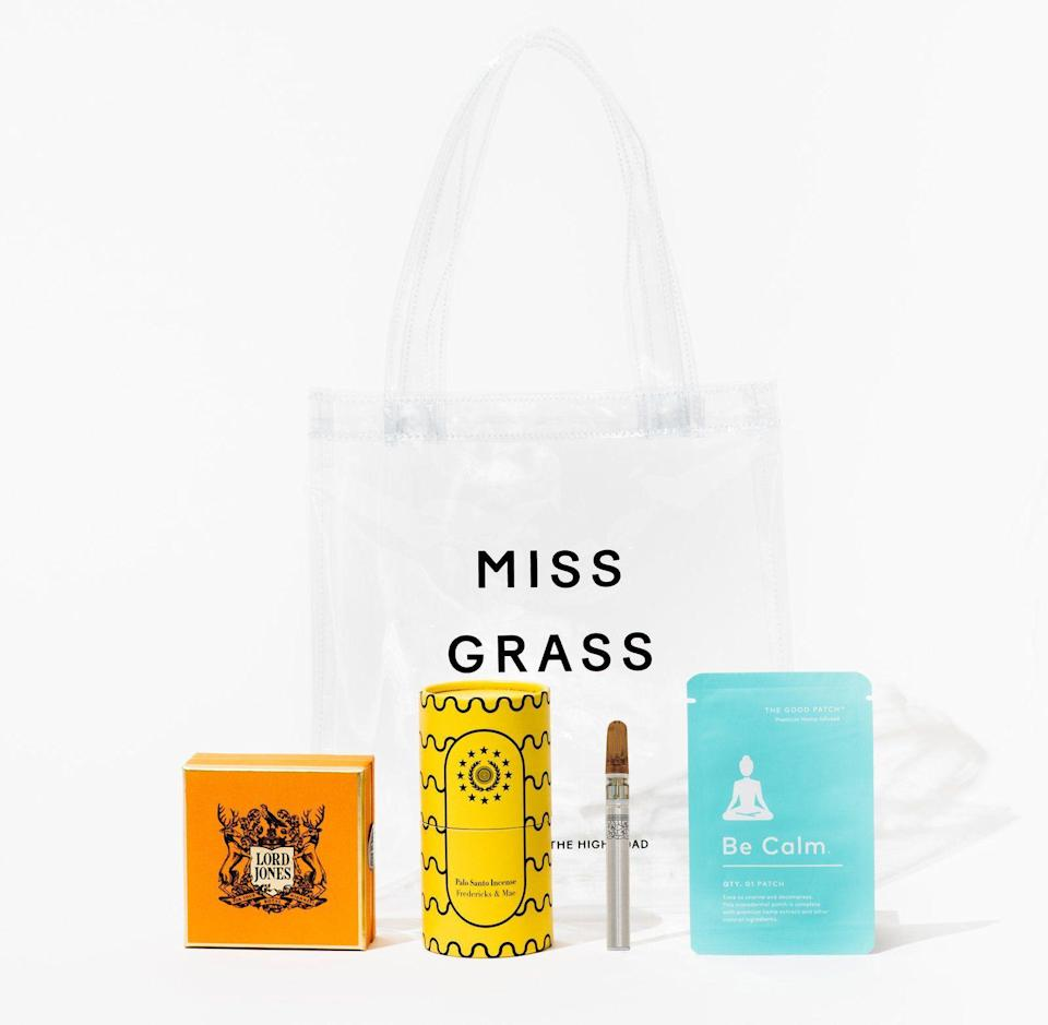 """<p><strong>Miss Grass</strong></p><p>missgrass.com</p><p><strong>$105.00</strong></p><p><a href=""""https://shop.missgrass.com/products/miss-grass-stress-kit"""" rel=""""nofollow noopener"""" target=""""_blank"""" data-ylk=""""slk:Shop Now"""" class=""""link rapid-noclick-resp"""">Shop Now</a></p><p>OK, I know we talked about CBD already, but there are so many ways to get your cannabidiol on. This kit contains four: a mini vape, a Be Calm patch, and CBD gumdrops.</p>"""