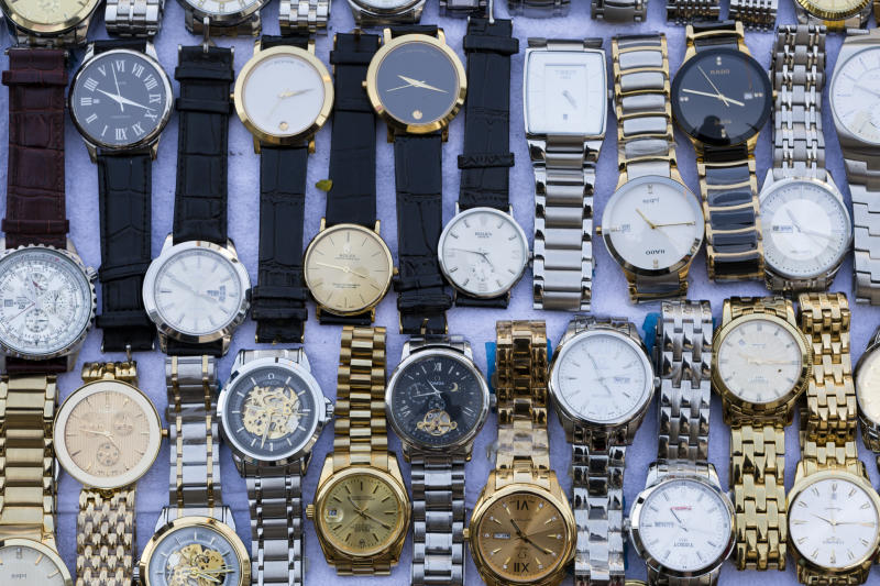 Bangkok: Fake and counterfeit wristwatches are a common site in the local street market stalls of Bangkok, Thailand.