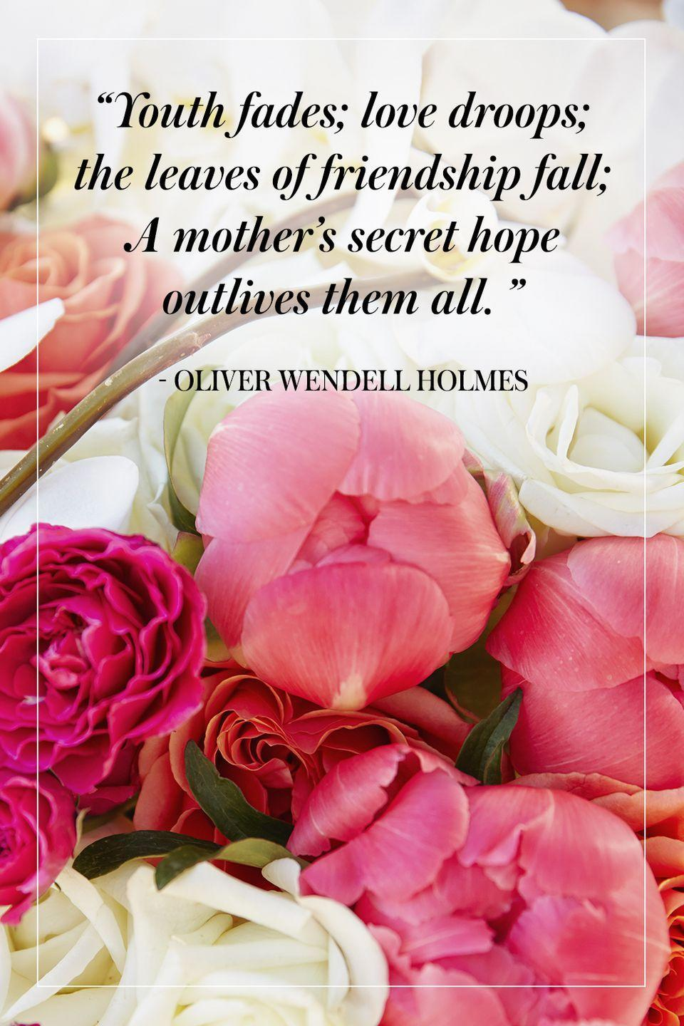 """<p>""""Youth fades; love droops; the leaves of friendship fall; A mother's secret hope outlives them all.""""</p><p>- Oliver Wendell Holmes</p>"""