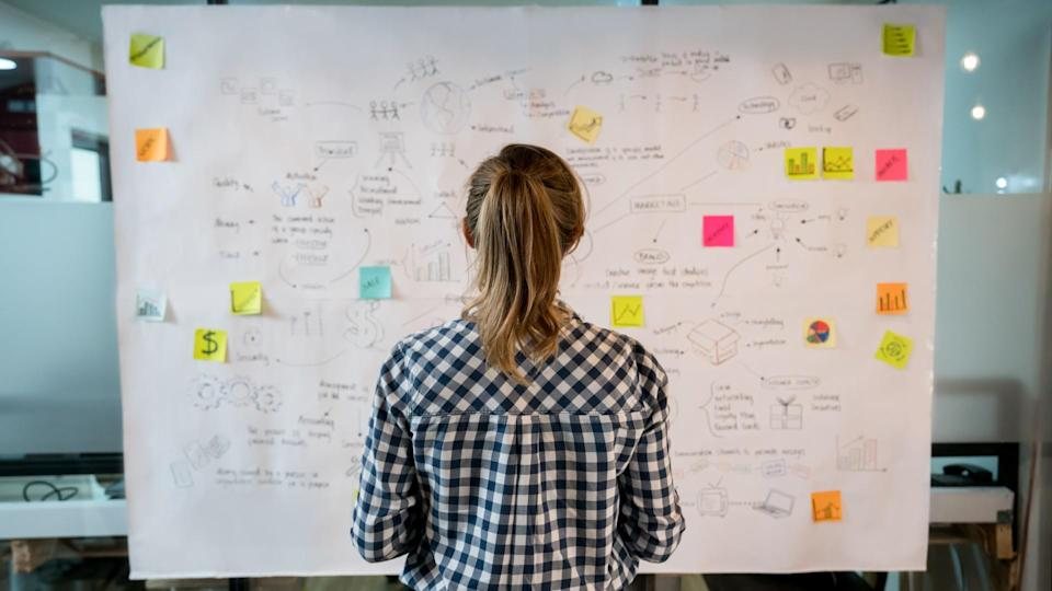 Woman sketching a business plan on a placard at a creative office.
