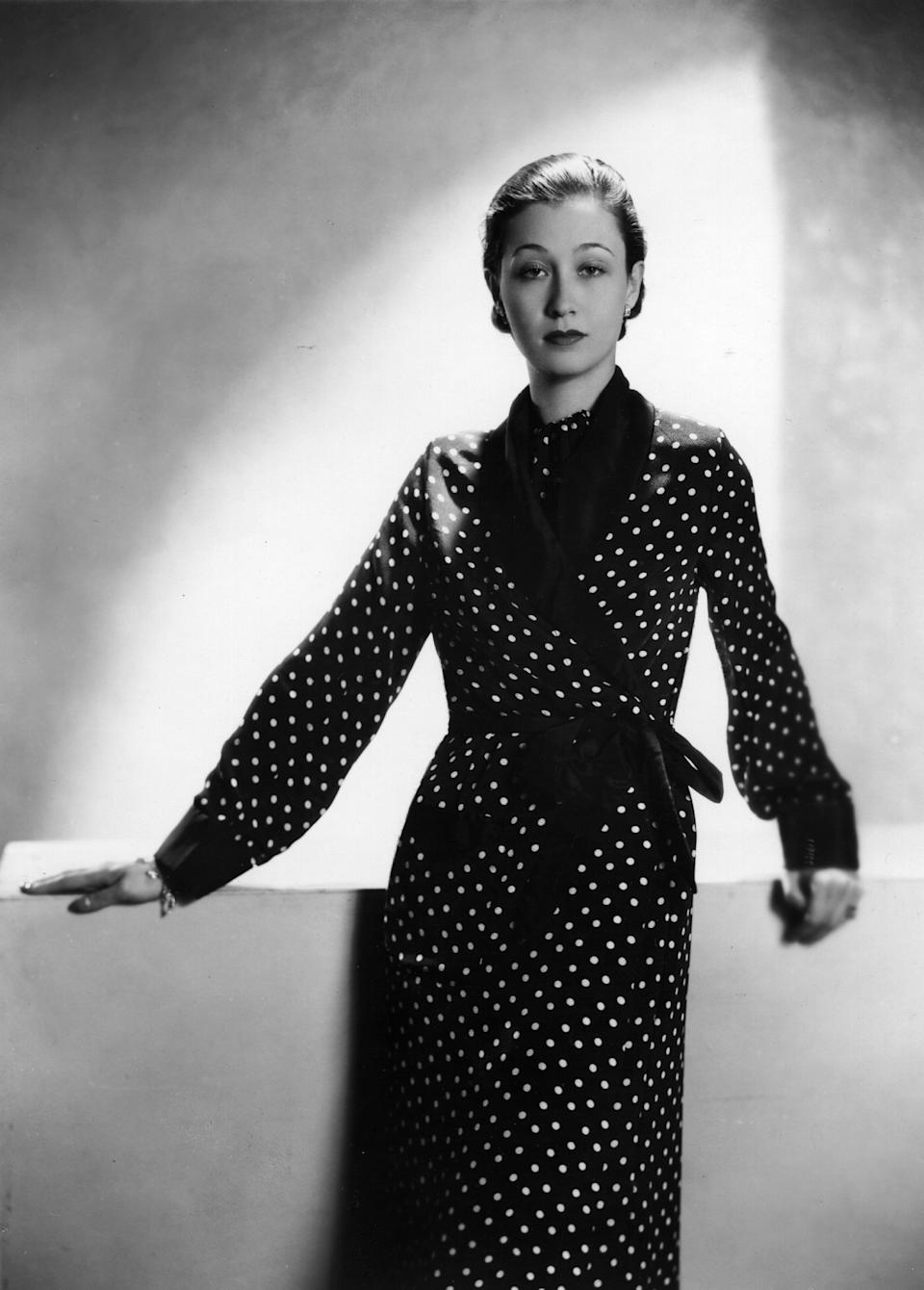 Koopman wears a dotted robe in this 1934 photo.