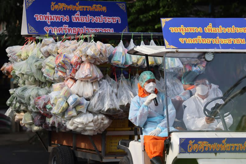Thai Buddhist monks craft traditional grocery truck to donate food during the coronavirus disease (COVID-19) pandemic