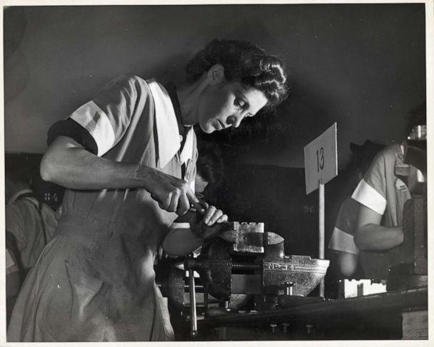 PHOTO: A photo taken between 1940 and 1945, shows a woman scraping a bearing in a vocational school in New York. (Bettmann Archive via Getty Images)