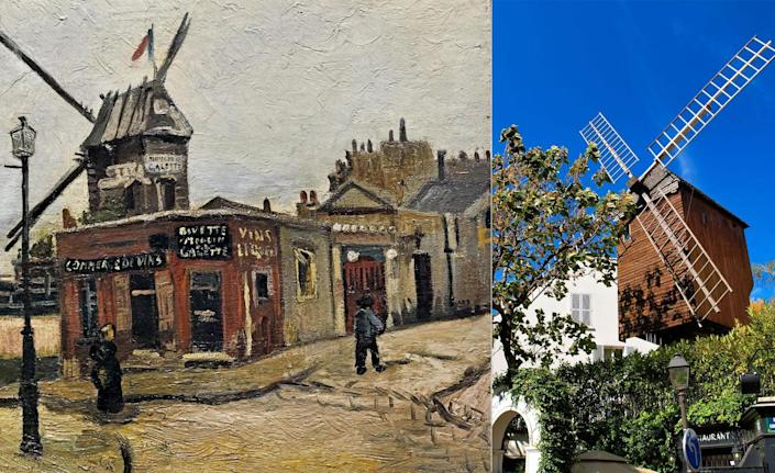 """In February 1886, Vincent van Gogh abruptly moved from Antwerp, Belgium, to Paris. The Dutch artist moved into his brother Theo's home. We know that Theo did not take well to the new guest, as Vincent rattled off a letter before leaving to look at paintings in a museum. """"Don't be cross with me that I've come all of a sudden,"""" Vincent wrote in a note. """"I've thought about it so much and I think we'll save time this way. Will be at the Louvre from midday, or earlier if you like."""" While in Paris, Vincent started first truly pushing himself to experiment with bolder colors. He would walk the streets of his new city, painting the many scenes he encountered. One was <em>Le</em> <em>Moulin de la Galette,</em> which was located in Montmartre, the same neighborhood his brother lived in at the time."""