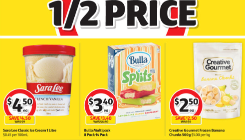 Some groceries selling at 50 per cent off at Coles on the week starting August 14.