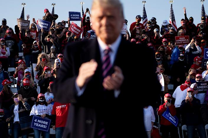 Then-President Donald Trump at a reelection campaign rally in Bemidji, Minnesota, on Sept. 18, 2020. (Photo: BRENDAN SMIALOWSKI/AFP via Getty Images)