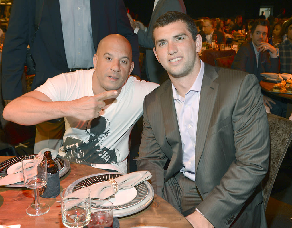 CULVER CITY, CA - JUNE 08:  Actor Vin Diesel (L) and NFL player Andrew Luck attend the 2013 Spike TV Guys Choice at Sony Pictures Studios on June 8, 2013 in Culver City, California.  (Photo by Kevin Mazur/WireImage)