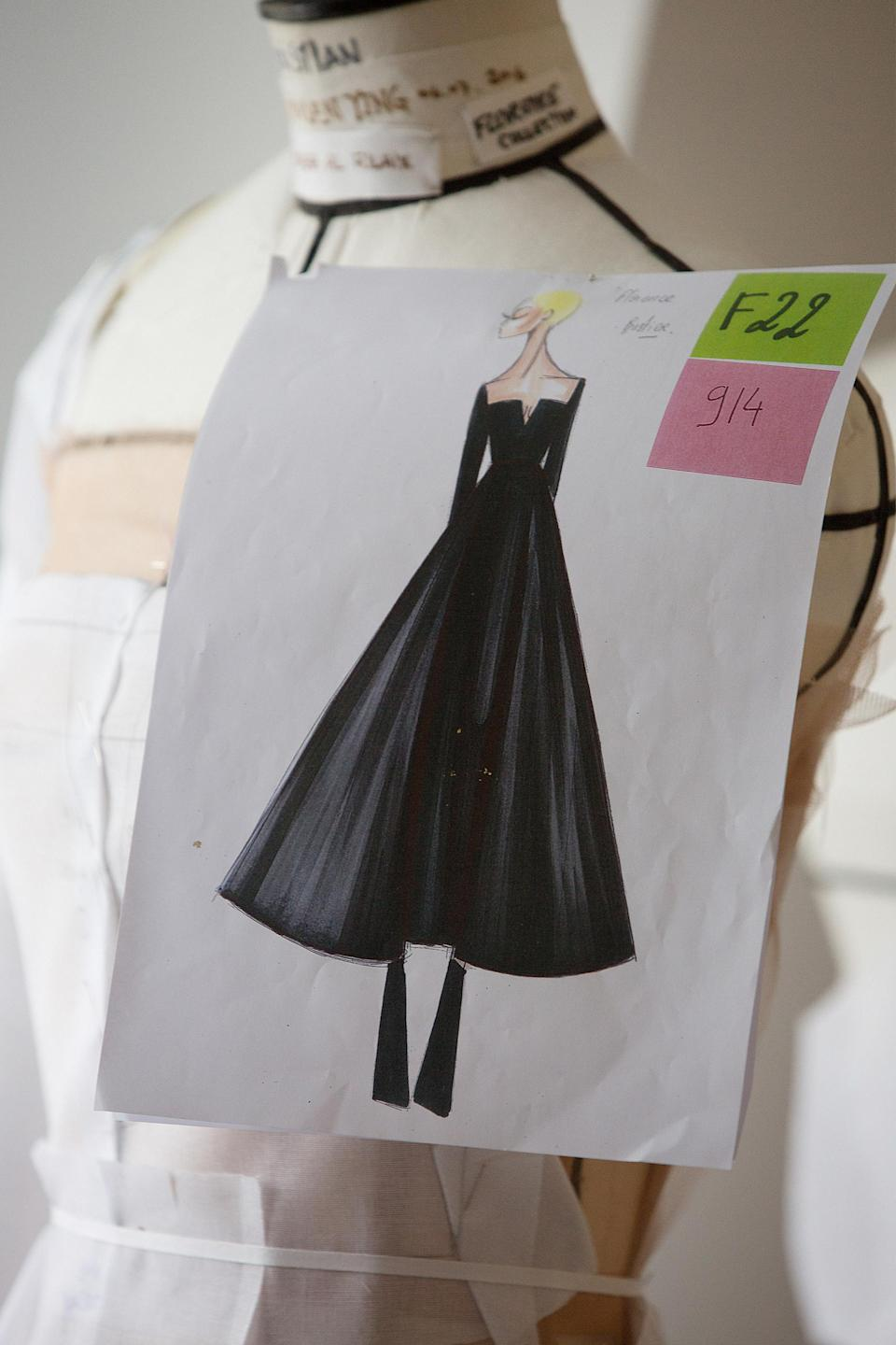 <p>The final sketch of the gown shows the full skirt and square neckline of the dress in detail.</p>