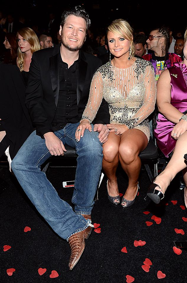LOS ANGELES, CA - FEBRUARY 10:  Musicians Blake Shelton (L) and Miranda Lambert attend the 55th Annual GRAMMY Awards at STAPLES Center on February 10, 2013 in Los Angeles, California.  (Photo by Larry Busacca/WireImage)