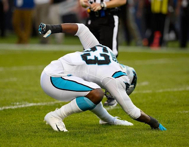 Carolina Panthers defensive end Brian Burns (53) celebrates a sack against the Chicago Bears in the first quarter at Soldier Field in Chicago, IL on Thursday, August 8, 2019.