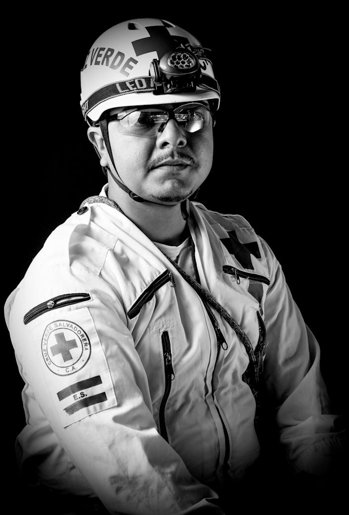 <p>Cesar Arevalo, a 33-year-old Salvadoran professional rescuer who worked in the recovery of bodies after the 7.1 earthquake that hit Mexico on Sept. 19, poses for pictures in Mexico City on Sept. 25, 2017. (Photo: Omar Torres/AFP/Getty Images) </p>