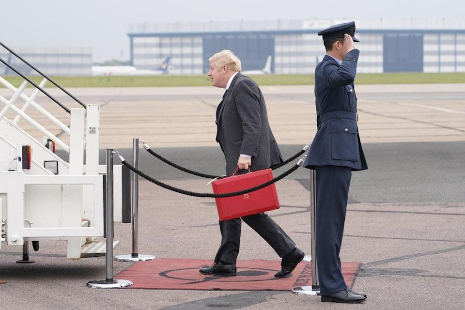 Boris Johnson at Stansted Airport (Stefan Rousseau/PA) (PA Wire)
