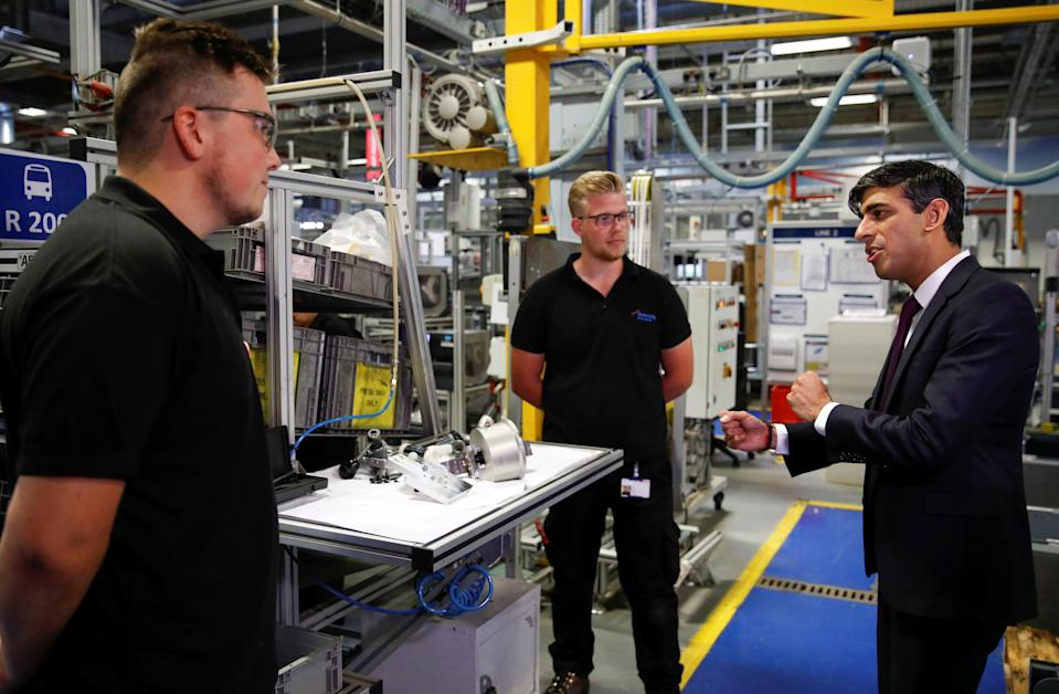 Chancellor of the exchequer Rishi Sunak during a visit to the Worcester Bosch factory in Worcester, England, on 9 July. Photo: Phil Noble/AFP via Getty Images