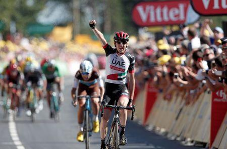 Cycling - Tour de France - The 181-km Stage 6 from Brest to Mur-de-Bretagne Guerleden - July 12, 2018 - UAE Team Emirates rider Daniel Martin of Ireland wins the stage. REUTERS/Benoit Tessier