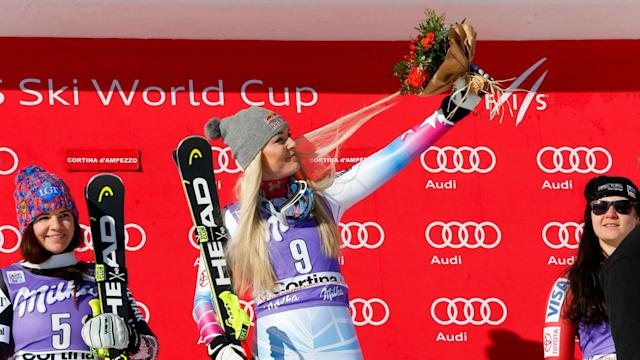 It was another day to remember for the legendary Lindsey Vonn as she triumphed in the downhill at Cortina d'Ampezzo.