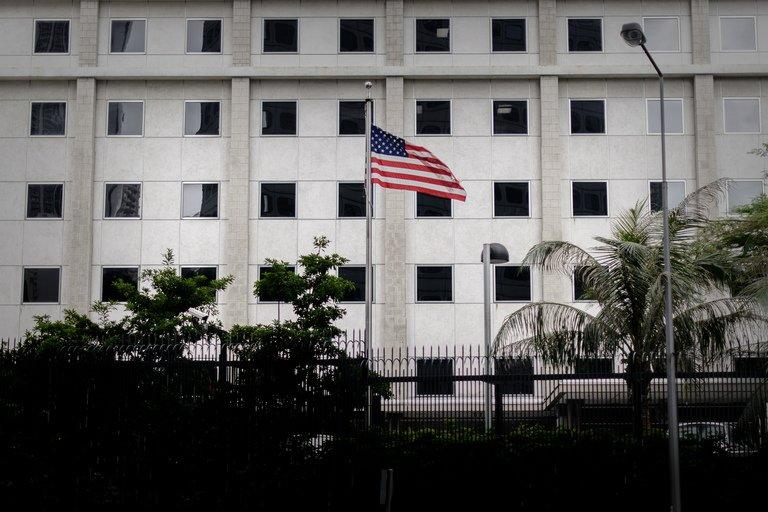 The US flag flutters in front of the US consulate in Hong Kong on June 10, 2013