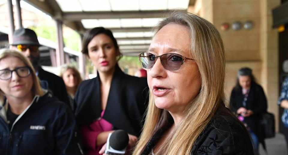 Jenny Hallam arrives at the District Court of SA in Adelaide, Thursday, November 7, 2019. Source: AAP