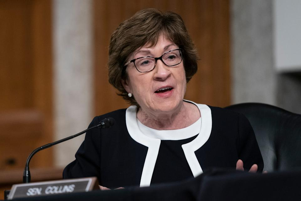 Sen. Susan Collins, R-Maine, speaks during a hearing on COVID-19 on Capitol Hill on Wednesday, Sept. 23, 2020, in Washington. (Alex Edelman/Pool via AP)