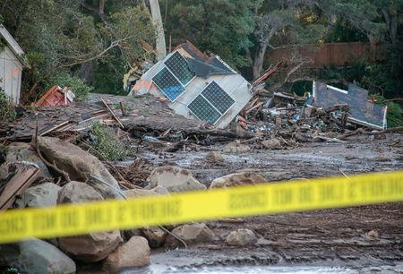Damaged properties are seen after a mudslide in Montecito, California, U.S. January 11, 2018. REUTERS/ Kyle Grillot