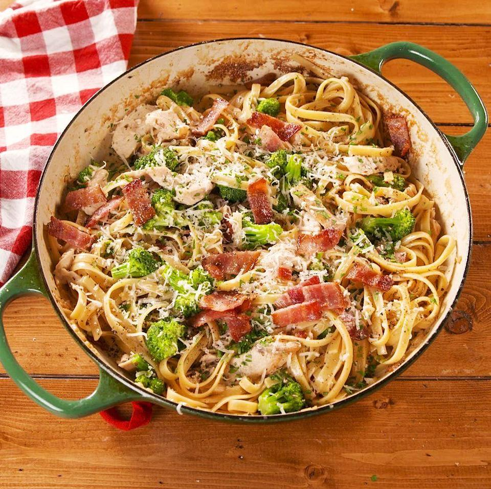 """<p>Name a dish more perfect than <a href=""""https://www.delish.com/uk/cooking/recipes/a28852601/one-pot-chicken-alfredo-recipe/"""" rel=""""nofollow noopener"""" target=""""_blank"""" data-ylk=""""slk:Chicken Alfredo"""" class=""""link rapid-noclick-resp"""">Chicken Alfredo</a>. We'll wait. But seriously, when we're craving carbs, nothing else will do. This version is made extra appealing with the addition of crispy bacon, plus a some broccoli to make it a complete meal. We'd eat this every night if we could. </p><p>Get the <a href=""""https://www.delish.com/uk/cooking/recipes/a29827202/bacon-and-broccoli-chicken-alfredo-recipe/"""" rel=""""nofollow noopener"""" target=""""_blank"""" data-ylk=""""slk:Bacon & Broccoli Chicken Alfredo"""" class=""""link rapid-noclick-resp"""">Bacon & Broccoli Chicken Alfredo</a> recipe. </p>"""