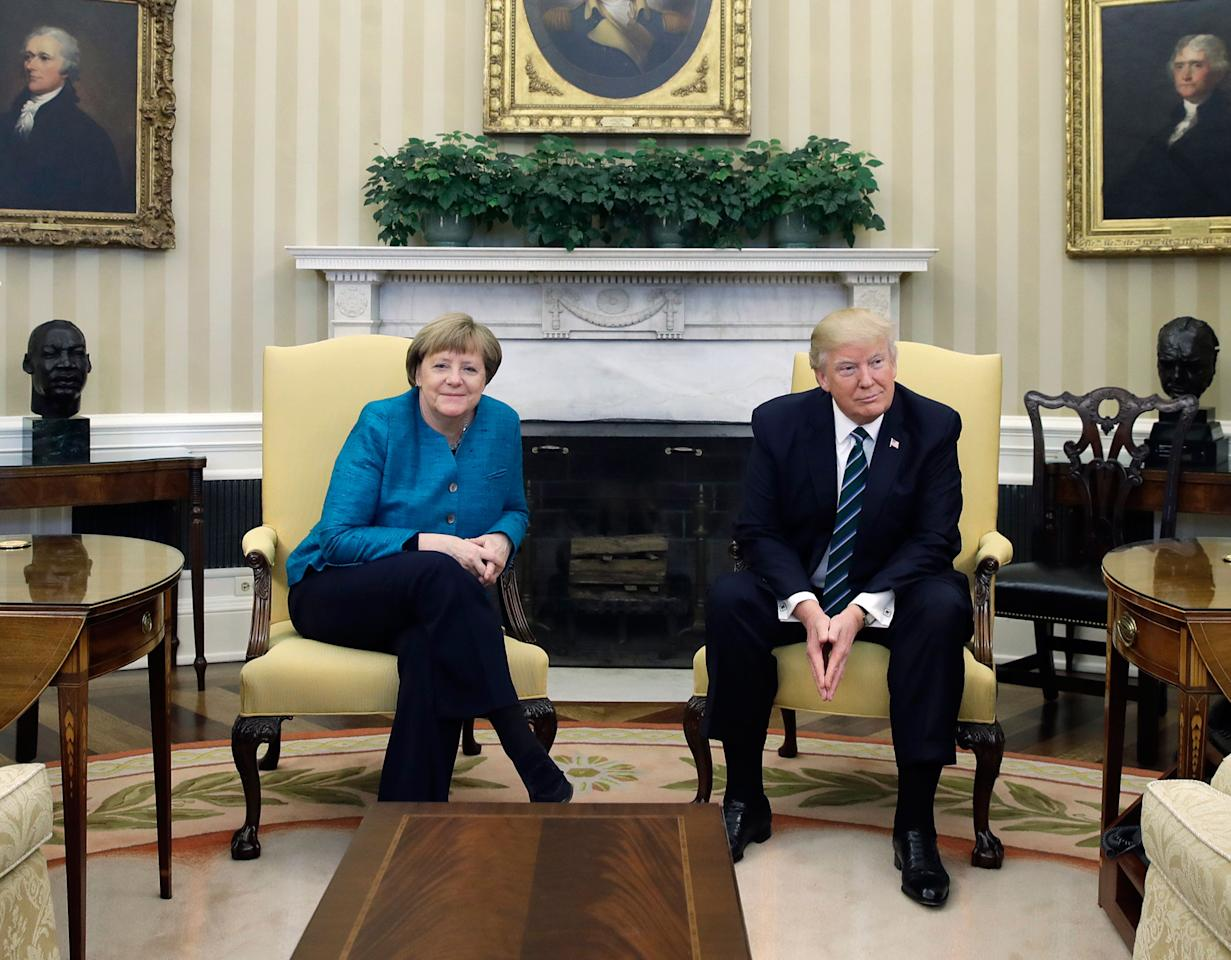 <p>President Donald Trump and German Chancellor Angela Merkel meet in the Oval Office of the White House in Washington, Friday, March 17, 2017. (AP Photo/Evan Vucci) </p>