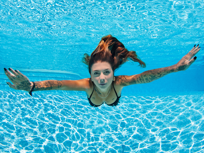 woman swimming swim underwater pool