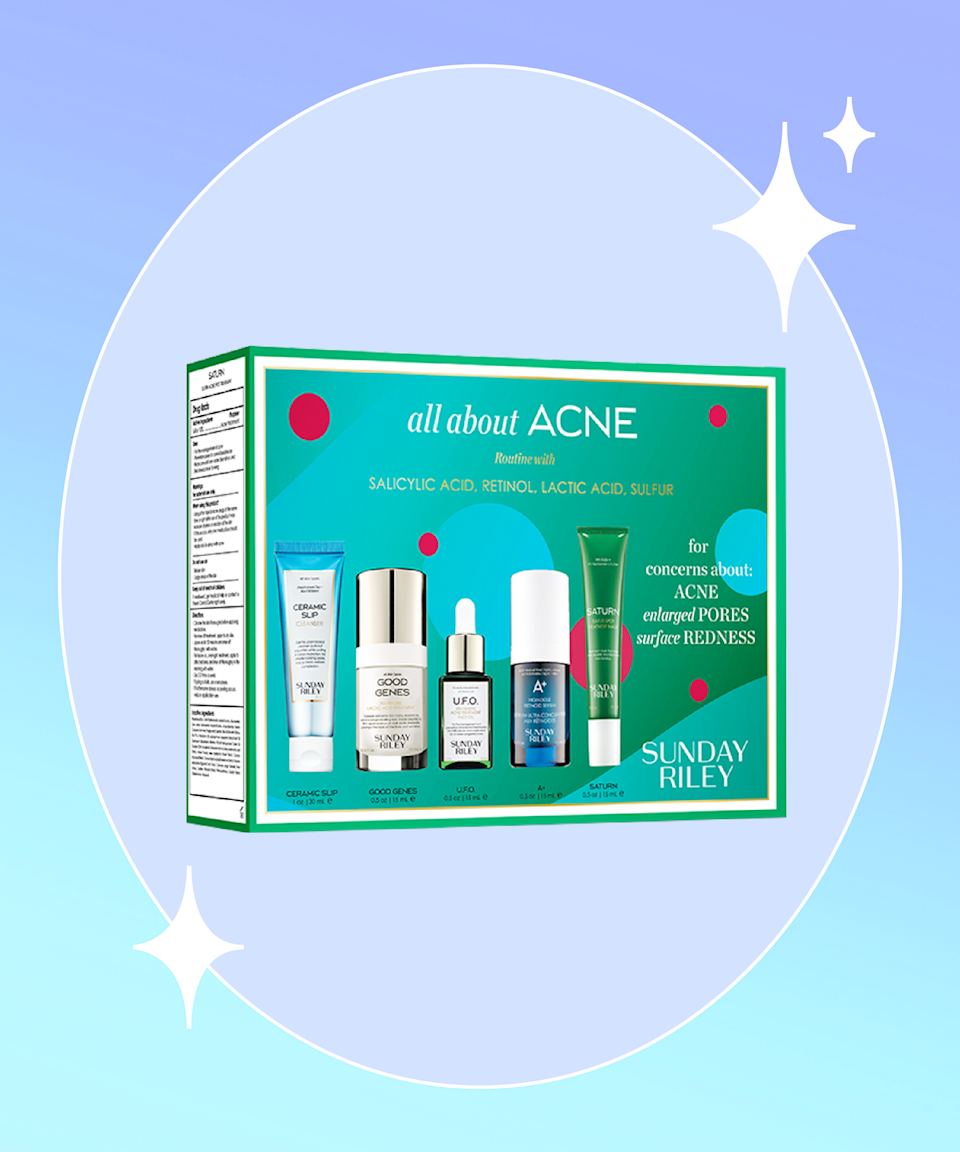 """<strong>Goal:</strong> Stop agonizing (and picking) over every breakout<br><br><strong>Use: </strong>Sunday Riley All About Acne Breakout + Blackhead Set<br><br><strong>Why?</strong> Despite affecting<a href=""""https://www.aad.org/media/stats-numbers"""" rel=""""nofollow noopener"""" target=""""_blank"""" data-ylk=""""slk:more than 50 million Americans"""" class=""""link rapid-noclick-resp""""> more than 50 million Americans </a>annually, acne — and not just maskne, but the ones that stem from hormones or stress — can be debilitating for some, stirring up feelings of <a href=""""https://www.aad.org/public/diseases/acne/acne-emotional-effects"""" rel=""""nofollow noopener"""" target=""""_blank"""" data-ylk=""""slk:anxiety, low self-esteem, and depression"""" class=""""link rapid-noclick-resp"""">anxiety, low self-esteem, and depression</a>. But resolving to accept it, embracing <a href=""""https://www.refinery29.com/en-us/2017/04/148398/izumi-tutti-acne-constallations-instagram"""" rel=""""nofollow noopener"""" target=""""_blank"""" data-ylk=""""slk:skin positivity"""" class=""""link rapid-noclick-resp"""">skin positivity</a>, and treating it with an acne-targeted routine (like this five-product blemish- and blackhead-fighting lineup featuring salicylic acid, sulfur, retinoids, and lactic acid) will most definitely help.<br><br><strong>Sunday Riley</strong> All About Acne Breakout + Blackhead Set, $, available at <a href=""""https://go.skimresources.com/?id=30283X879131&url=https%3A%2F%2Fwww.sephora.com%2Fproduct%2Fsunday-riley-about-acne-advanced-clarifying-regimen-P461535%3Ficid2%3Dproducts%2520grid%3Ap461535"""" rel=""""nofollow noopener"""" target=""""_blank"""" data-ylk=""""slk:Sephora"""" class=""""link rapid-noclick-resp"""">Sephora</a>"""