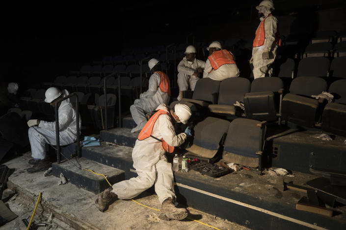 Demolition of the Neuhaus Theatre space inside the Alley Theatre that was flooded by Hurricane Harvey in Houston, Sept. 8, 2017. (Photo: Erich Schlegel for Yahoo News)