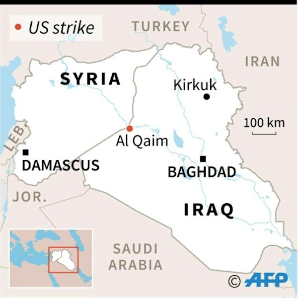 Map of Iraq and Syria locating US strikes