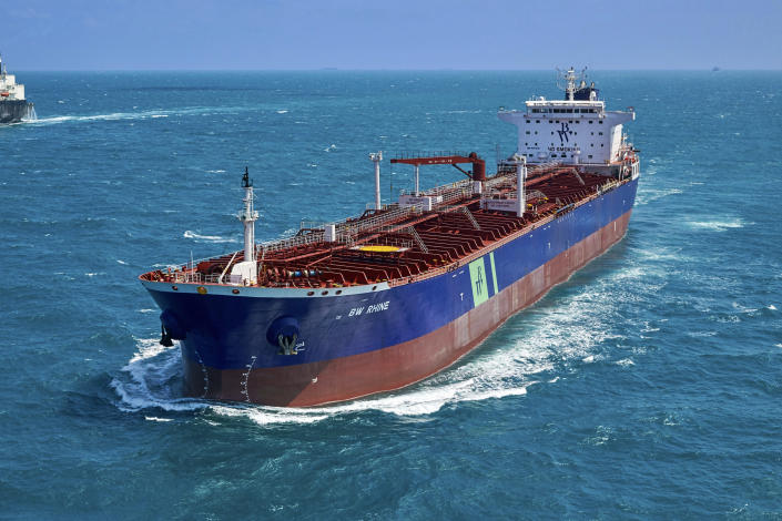"""This undated photo released by AERIAL PHOTOGRAPHER SG shows the Singapore-flagged oil tanker BW Rhine. The BW Rhine suffered an explosion early Monday, Dec. 14, 2020 after being hit by """"an external source,"""" off Saudi Arabia's port city of Jiddah, a shipping company said. The apparent attack on the oil tanker marks the fourth assault targeting Saudi energy infrastructure in a month. (Tommy Chia/AERIAL PHOTOGRAPHER SG via AP)"""