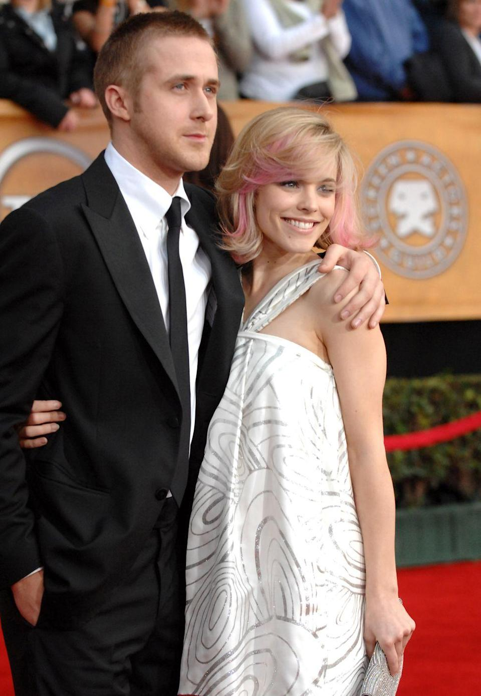 """<p>This couple started dating in 2004 after they played Noah and Allie in <em>The Notebook</em> and broke things off in 2007. In November 2013, they <a href=""""http://www.refinery29.com/2013/11/57503/ryan-gosling-rachel-mcadams-dating"""" rel=""""nofollow noopener"""" target=""""_blank"""" data-ylk=""""slk:sparked rumors again"""" class=""""link rapid-noclick-resp"""">sparked rumors again</a>, but they've both moved on now. Gosling shares two children with wife Eva Mendes, and McAdams has been married to Jamie Linden since 2016. </p>"""