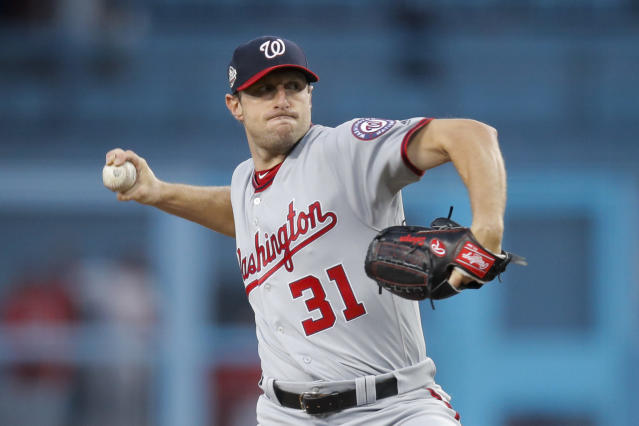 "<a class=""link rapid-noclick-resp"" href=""/mlb/teams/was"" data-ylk=""slk:Washington Nationals"">Washington Nationals</a> starting pitcher <a class=""link rapid-noclick-resp"" href=""/mlb/players/8193/"" data-ylk=""slk:Max Scherzer"">Max Scherzer</a> now has the same number of career wins as <a class=""link rapid-noclick-resp"" href=""/mlb/players/8180/"" data-ylk=""slk:Clayton Kershaw"">Clayton Kershaw</a>: 145. (AP)"