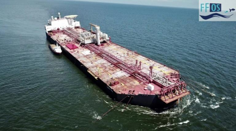 A video image released by the Fishermen and Friends of the Sea NGO on October 22, 2020 shows the tilted Nabarima oil tanker