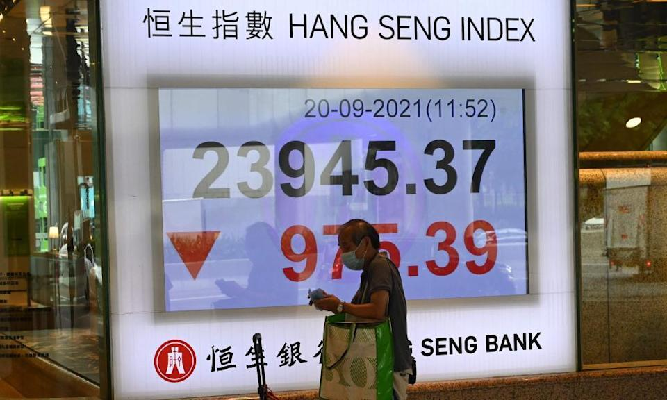 Hang Seng index after it tumbled more than four percent in Hong Kong on 20 September 2021.
