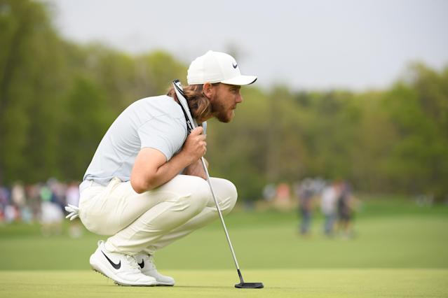 Tommy Fleetwood of England lines up a putt on the 12th green during the second round of the 2019 PGA Championship at the Bethpage Black course on May 17, 2019 in Farmingdale, New York. (Photo by Ross Kinnaird/Getty Images)