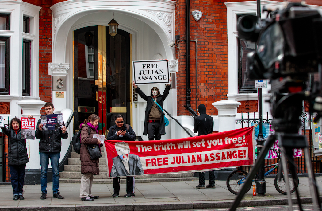 <em>Assange has spent almost seven years at the embassy after seeking refuge there to avoid extradition to Sweden (Getty)</em>