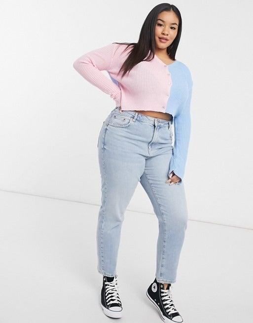 """<br><br><strong>Daisy Street Plus</strong> Contrast 90's Fitted Cardigan, $, available at <a href=""""https://www.asos.com/daisy-street-plus/daisy-street-plus-contrast-90s-fitted-cardigan/prd/21074012?"""" rel=""""nofollow noopener"""" target=""""_blank"""" data-ylk=""""slk:ASOS"""" class=""""link rapid-noclick-resp"""">ASOS</a>"""