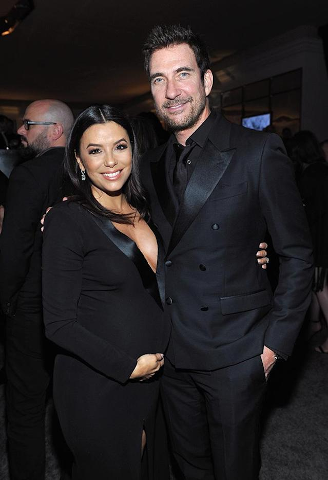 <p>Eva Longoria and Dylan McDermott attend the InStyle and Warner Bros. party. (Photo: Donato Sardella/Getty Images for InStyle ) </p>