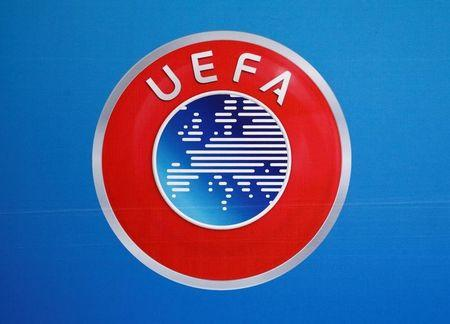 A logo is pictured on a backdrop before a news conference after an UEFA Executive Board meeting in Nyon