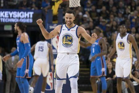 October 16, 2018; Oakland, CA, USA; Golden State Warriors guard Stephen Curry (30) reacts against the Oklahoma City Thunder during the third quarter at Oracle Arena. Mandatory Credit: Kyle Terada-USA TODAY Sports