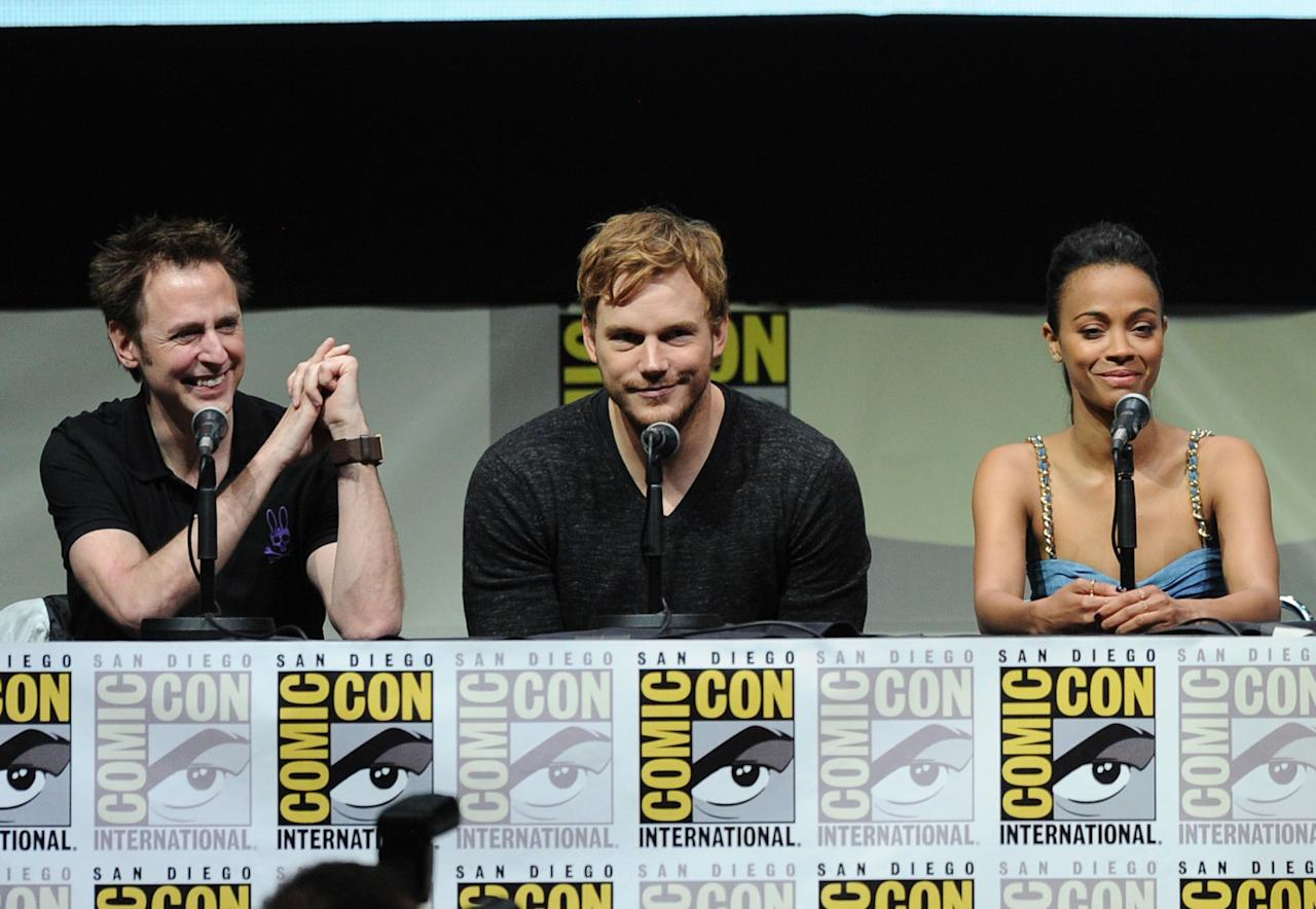 "SAN DIEGO, CA - JULY 20: (L-R) Filmmaker James Gunn, actors Chris Pratt and Zoe Saldana speak onstage at Marvel Studios ""Guardians of the Galaxy"" during Comic-Con International 2013 at San Diego Convention Center on July 20, 2013 in San Diego, California. (Photo by Kevin Winter/Getty Images)"