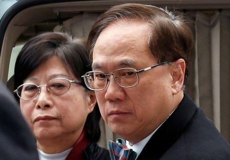 Former Hong Kong Chief Executive Donald Tsang and his wife Selina arrive the High Court in Hong Kong