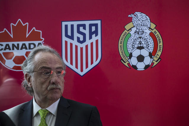 Decio de Maria, the president of Mexico's soccer federation, is one of three co-chairs of the U.S.-led United Bid to host the 2026 World Cup. (Getty)