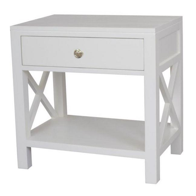 The block shop Hamptons style Catalina Crossed White Bedside